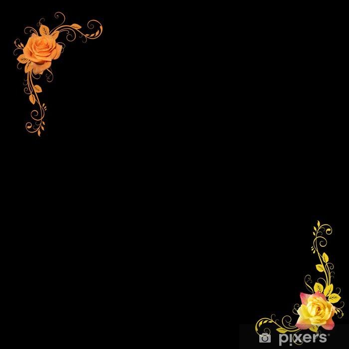 Fototapeta winylowa FLOWERS ORANGE YELLOW czarnym tle - Szczęście