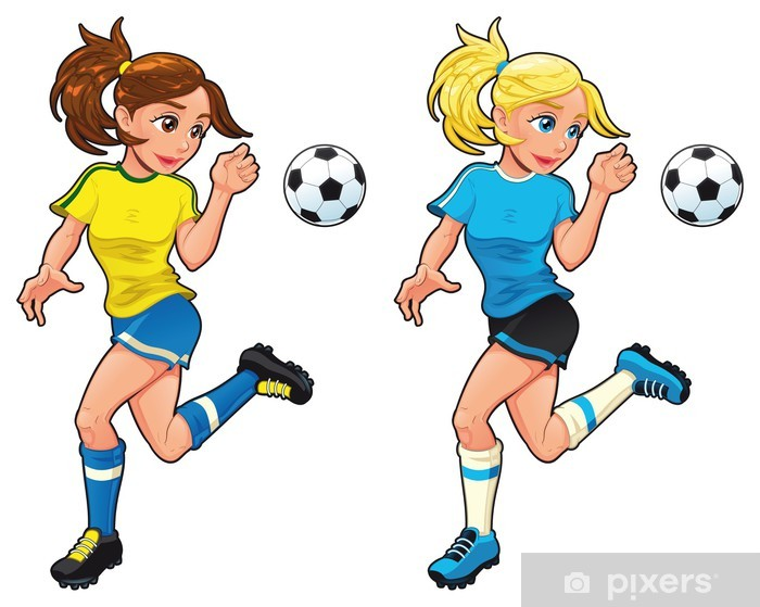 c336e50e Fototapet av vinyl Fotball kvinnelige spillere. Vector tegneserie og  isolerte tegn. - Kvinner