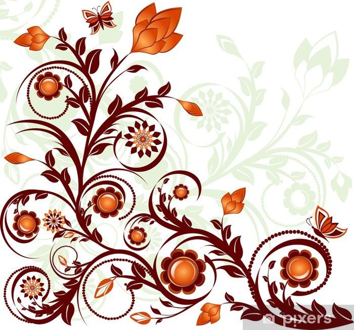 Poster Illustration vectorielle d'un ornement floral avec des papillons. - Sticker mural