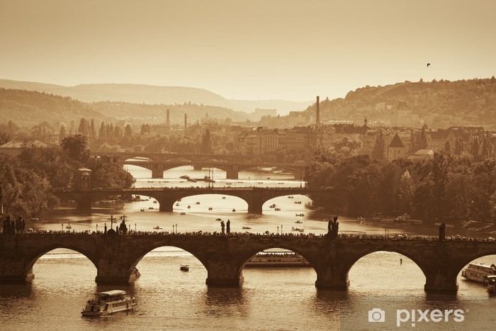 Fototapeta winylowa Widok na Most Karola i Wełtawy, Sepia - Praga