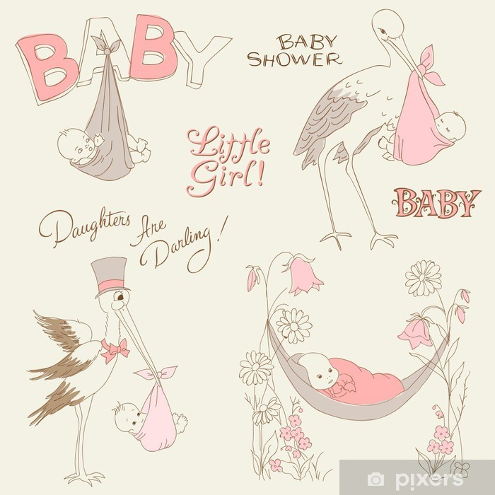 Vintage Baby Girl Shower and Arrival Doodles Set - design elemen Poster