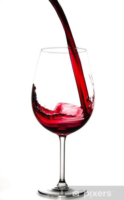 Adesivo Versare Il Vino Rosso In Vetro Isolato Su Sfondo Bianco