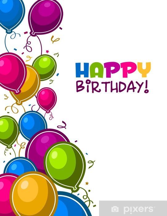 Sticker Pixerstick Joyeux anniversaire avec des ballons - Célébrations