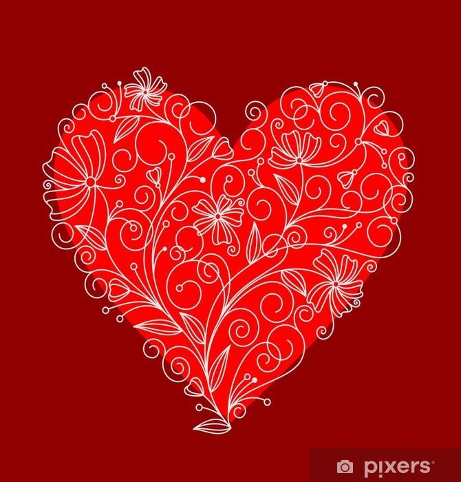 Red flower heart Vinyl Wall Mural - Backgrounds