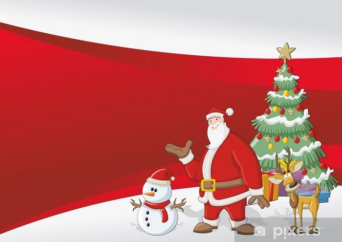 Immagini Di Natale Con Babbo Natale.Carta Da Parati In Vinile Template Con Babbo Natale Renna Pupazzo Di Neve Albero Di Natale E