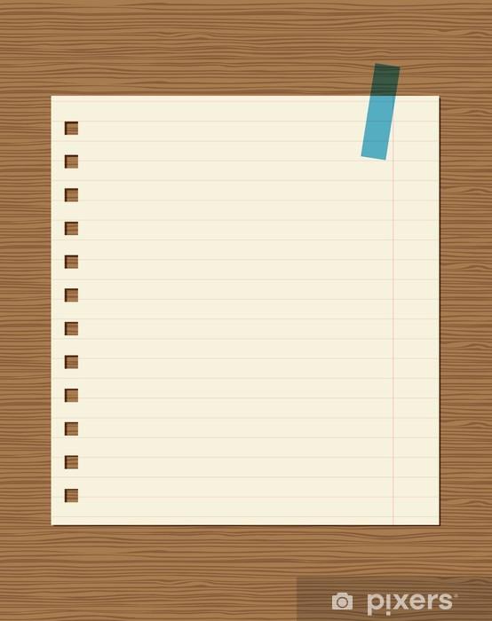Carta Da Parati Foderato Di Carta Di Quaderno Su Parete In Legno