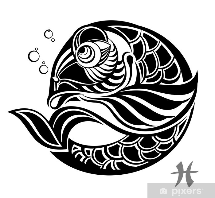 Fototapeta Winylowa Znaki Zodiaku Ryby Wzór Tatuażu