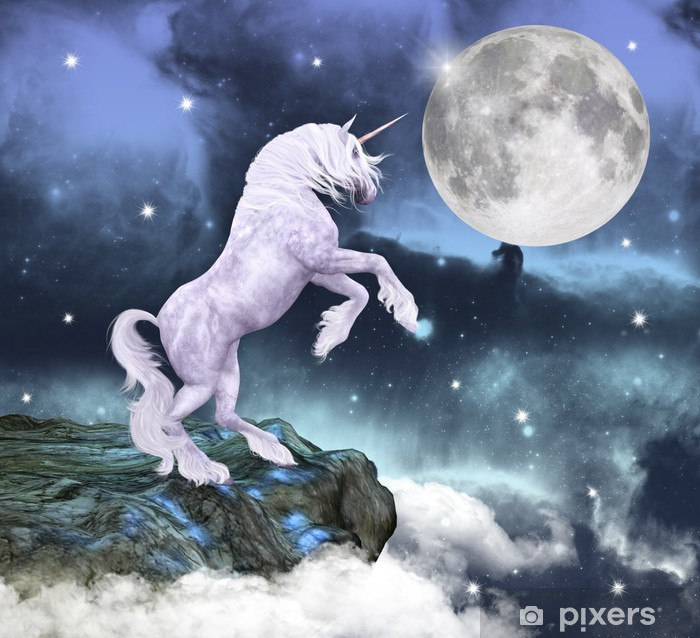 Unicorno i uno scenario incantato Dør klistemærke -
