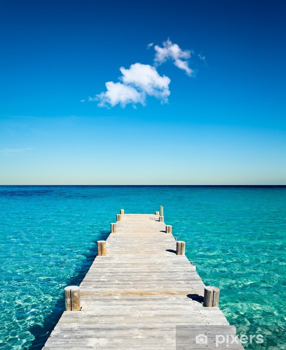 plage vacances ponton bois Pixerstick Sticker -