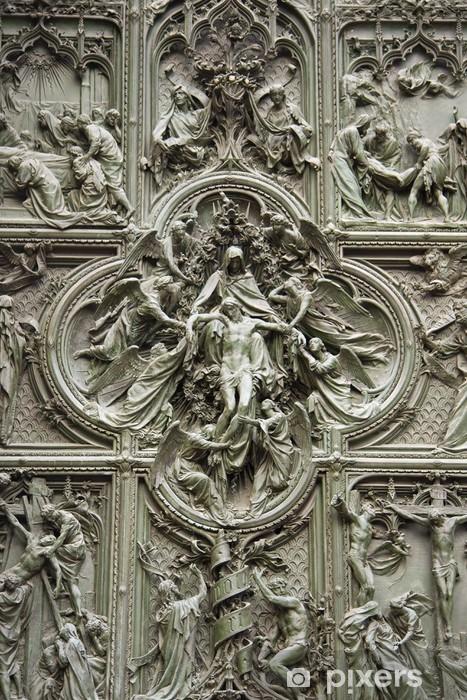 Naklejka Pixerstick Drzwi katedry w Mediolanie, Włochy - Europa