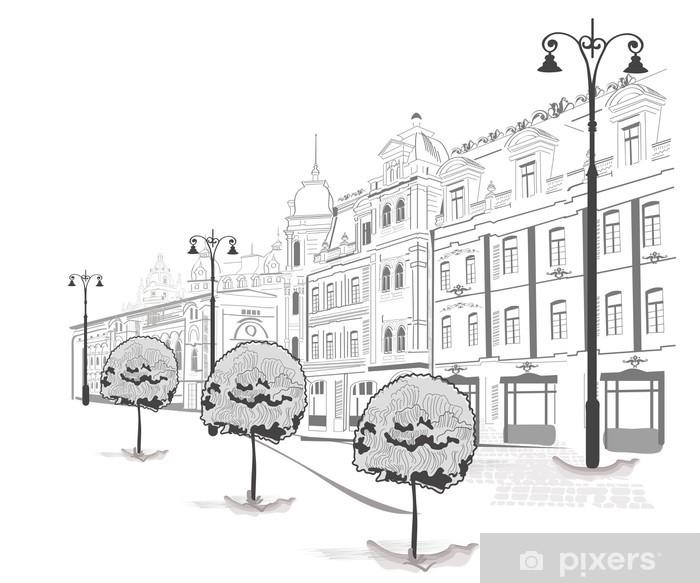 Fototapeta winylowa Seria ulic w mieście w szkicach - Naklejki na ścianę