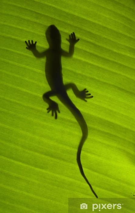Silhouette of a gecko lizard on a green leaf Pixerstick Sticker - Themes