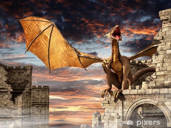 Papier peint vinyle Dragon sur Château - Destin
