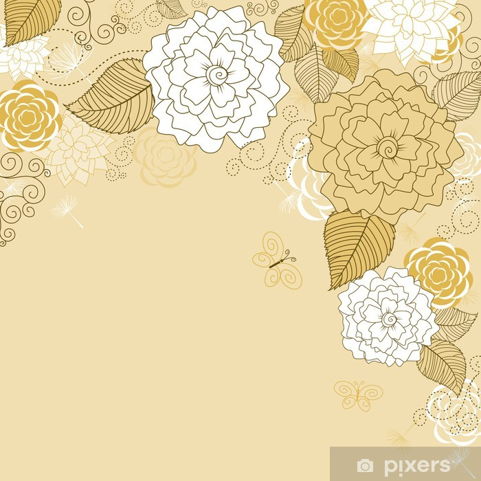 Naklejka Pixerstick Streszczenie brązowy tła - Kwiaty