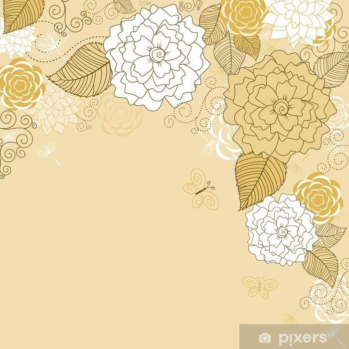 Papier peint vinyle Résumé Contexte floral de Brown - Fleurs