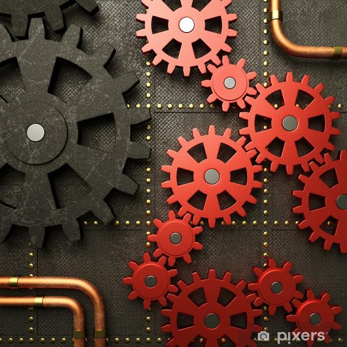 Red gears steampunk machine Vinyl Wall Mural - Steampunk