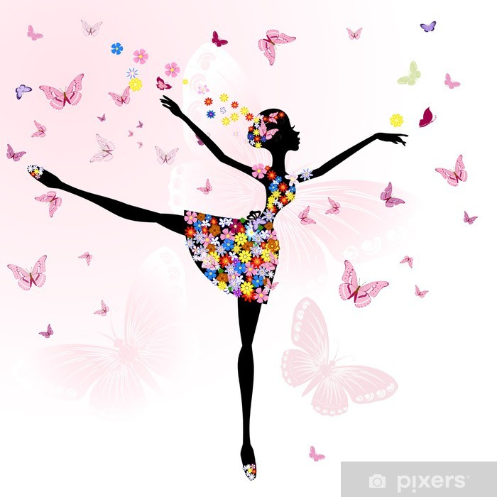 Vinyl Fotobehang Ballerina meisje met bloemen met vlinders - Stijlen