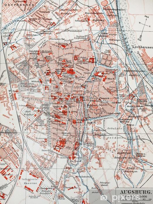 Karte Augsburg.Fototapete Weinlese Karte Von Augsburg