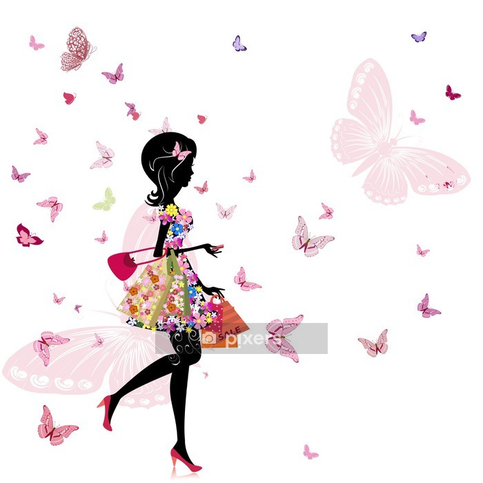 girl with a flower shop in Wall Decal - Fashion