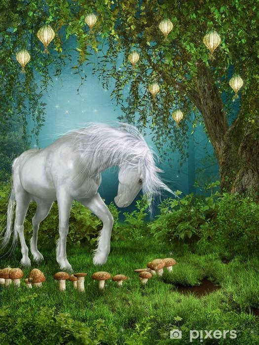 Pixerstick Sticker Magische tuin met een eenhoorn - Thema's