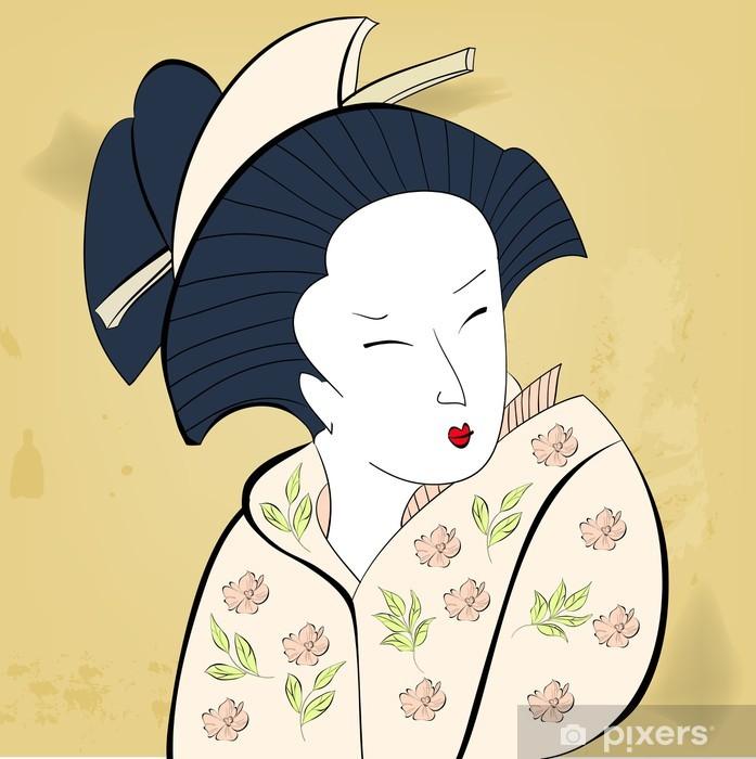 Geisha on vintage background Vinyl Wall Mural - Women