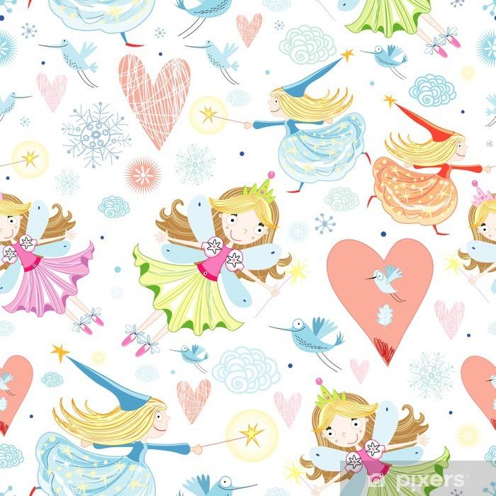 Poster Texture con piccole fatine - Cielo
