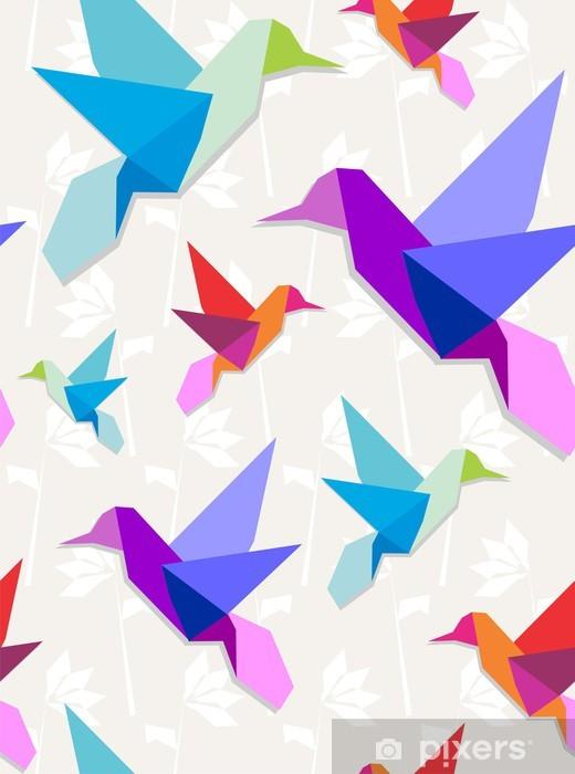 Fototapeta winylowa Kolibry origami tło wzór - Pory roku