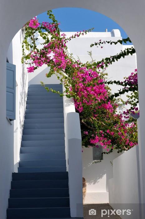 Sticker Pixerstick Beaux escaliers et de bougainvilliers en Grèce - Vacances