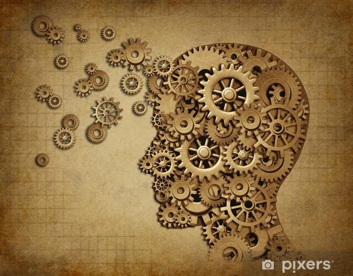 Adesivo Pixerstick Funzione del cervello umano grunge con ingranaggi - Stili