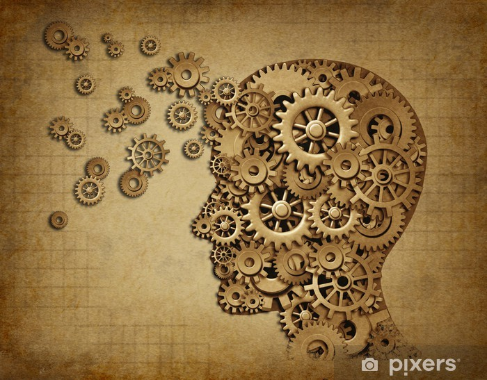 Human brain function grunge with gears Vinyl Wall Mural - Styles