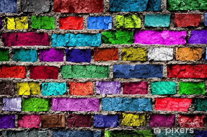Rainbow colourful brick wall (background) Pixerstick Sticker -