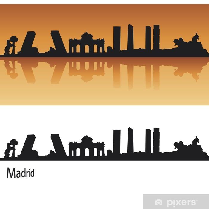 Sticker Pixerstick Madrid Skyline en orange - Villes européennes
