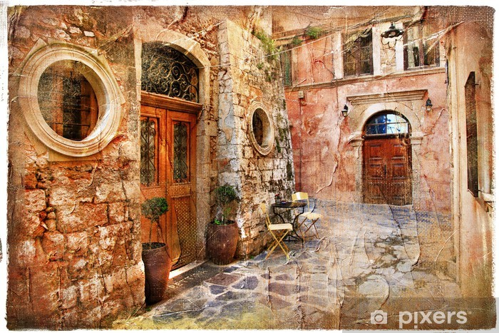 old streets of greece - artistic retro piture Vinyl Wall Mural - Themes
