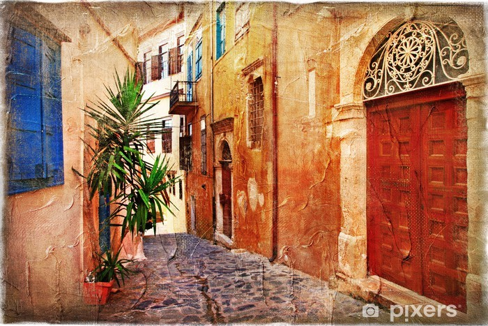 strrets of old Greece - artistic picture Vinyl Wall Mural - Themes