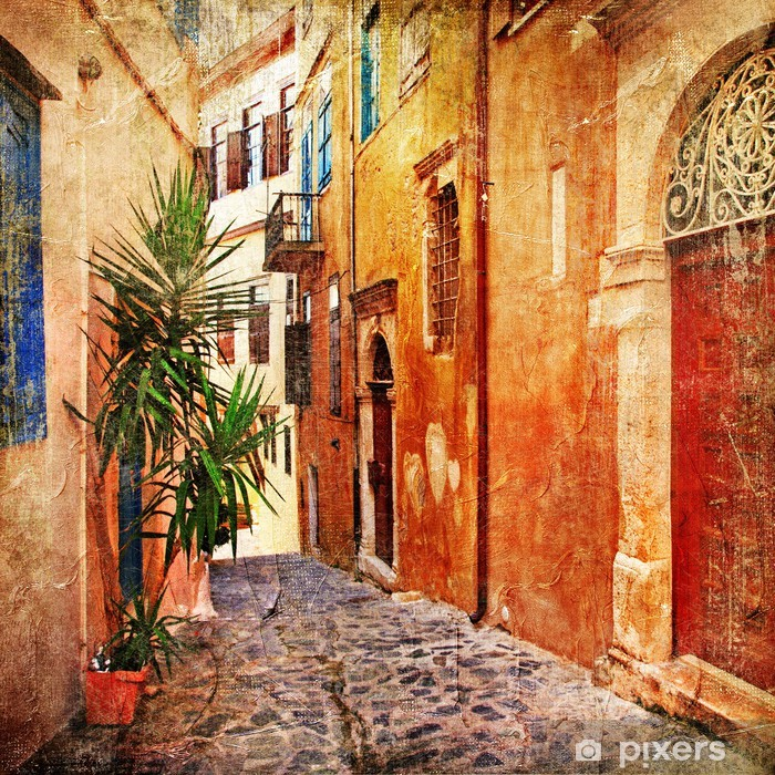 old streets - traditional Greece- artistic series Vinyl Wall Mural -