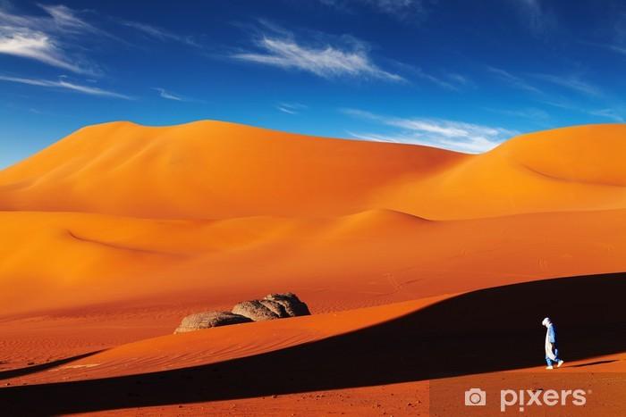 Tuareg in desert at sunset, Sahara Desert, Algeria Vinyl Wall Mural - Desert