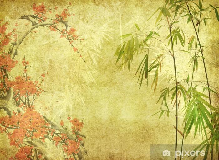 Fototapeta winylowa Bambus i śliwa kwiat na starych zabytkowych tekstury papieru - Style