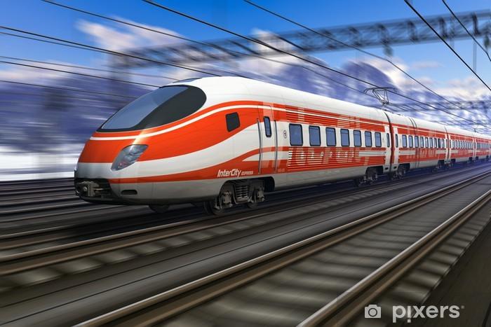 Fototapeta winylowa Nowoczesna wysoka prędkość pociągu z motion blur - iStaging