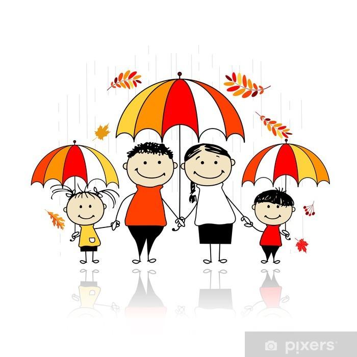 Sonbahar Mevsimi Tasarım Için şemsiye Ile Aile Duvar Resmi Pixers