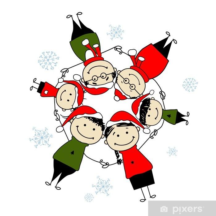 Adesivi Buon Natale.Adesivo Buon Natale Famiglia Felice Illustrazione Per Il Vostro Disegno Pixerstick