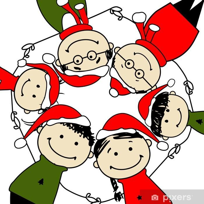 Buon Natale Famiglia.Carta Da Parati Buon Natale Famiglia Felice Illustrazione Per Il