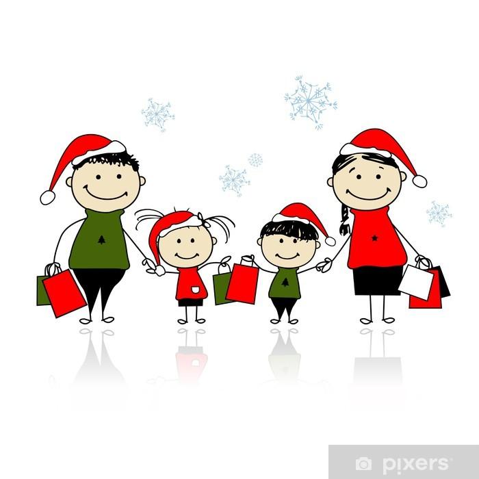 Carta da Parati Regali di Natale. Famiglia con borse della spesa