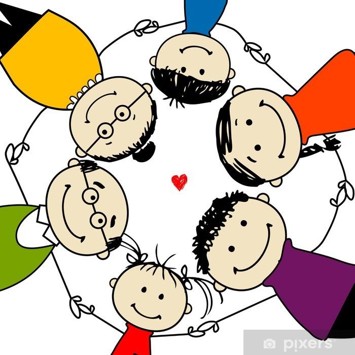 Fototapeta winylowa Szczęśliwa rodzina razem, ramka do projektowania - Wartości rodzinne