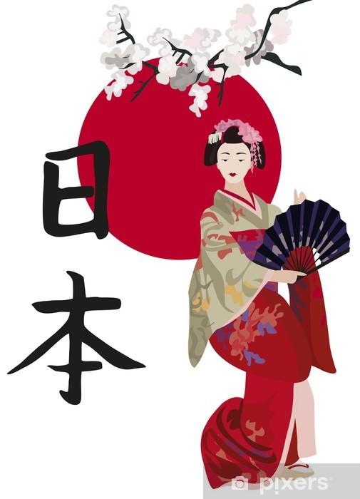 Naklejka Pixerstick Gejsze i kanji - Style