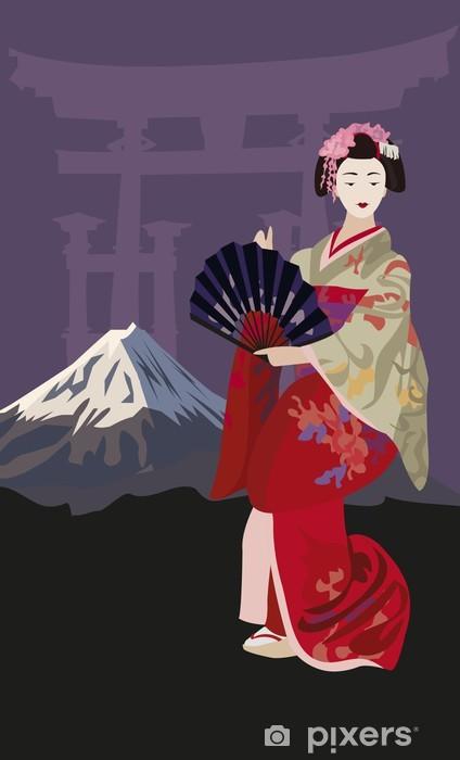 Sticker Pixerstick Geisha et le Mont Fuji - Japon