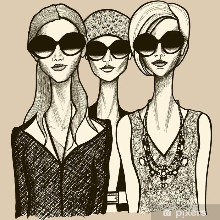 Plakat Trzy kobiety z okulary - Moda