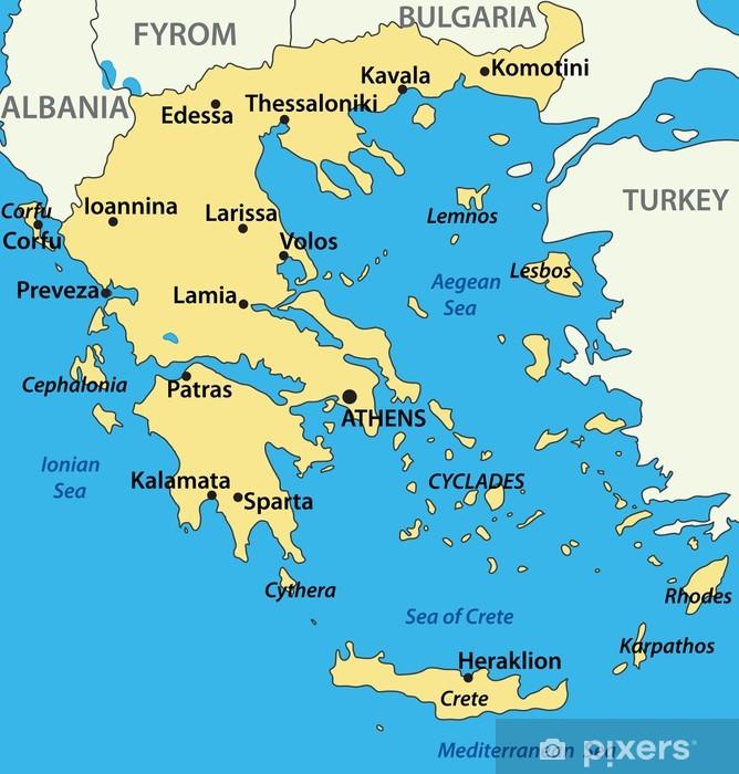 Fotobehang Kaart Van Griekenland Vector Illustratie Pixers