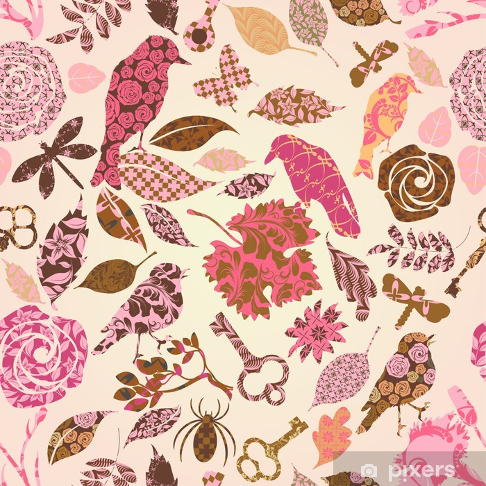 Seamless pattern with patch silhouettes Vinyl Wall Mural - Other Feelings
