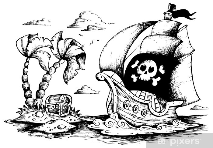 Fototapeta Kresba Piratske Lodi 1 Pixers Zijeme Pro Zmenu