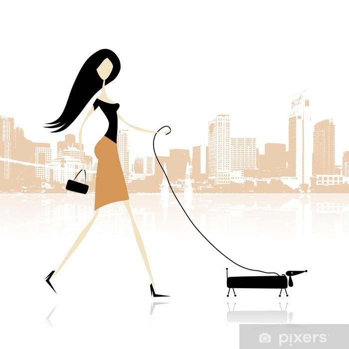 89b14d5e08a14 Vinilo Pixerstick Chica con perro caminando en la ciudad • Pixers ...